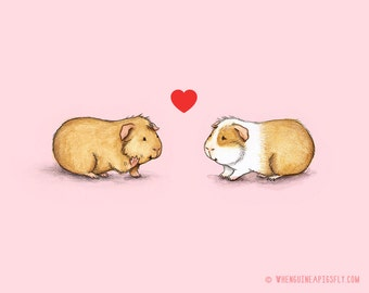 Be Mine Guinea Pig Valentine Print - Piggies in Love
