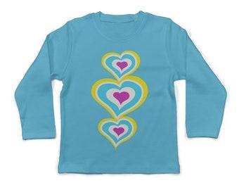 Candy Heart TShirt. Children's Tee Shirt,Kids Tshirt, Girls Tshirt, Graphic Tee, T-Shirt, Gift for Girl, Aqua Tee, Heart T Shirt, Aqua, Pink