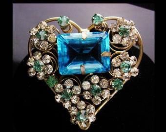 "HUGE Heart Brooch - baroque OOAK aquamarine glass - Vintage 3"" layered rhinestones - stunning statement jewelry - one of a kind"