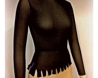 Hand made Italian mesh top in Black .