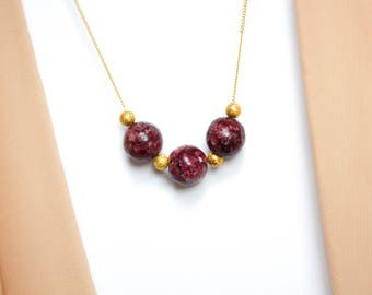 Speckled Maroon Jade and Gold Necklace