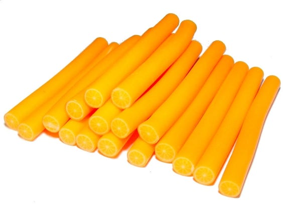 Round Orange n2 polymer clay cane