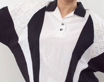 Vintage 1990s Black White Large Batwing Dolman Disco Top Division of Graff Made in USA Referee Style 90s Black and White Pullover Top
