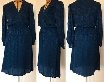 Vintage 80s Argenti for Casual Corner Dark Blue Silk Dress / Wrap Top, Elastic Waist & Full Midi Skirt / Made in Hong Kong / Small-Medium