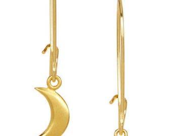 Moon & Star Gold Kidney Earrings