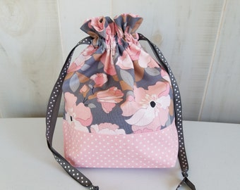 Sock Project Bag: Pink/ Grey Floral