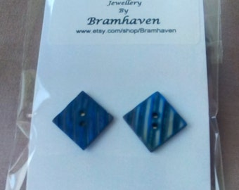 Up cycled 15mm square blue vintage mother of pearl button stud earrings