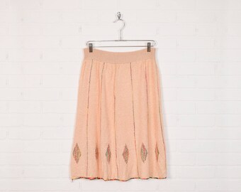Vintage 70s Skirt Sweater Skirt Knit Skirt 70s Hippie Skirt Boho Skirt A-Line Skirt Midi Skirt High Waist Peach Rainbow Embroidered L Large