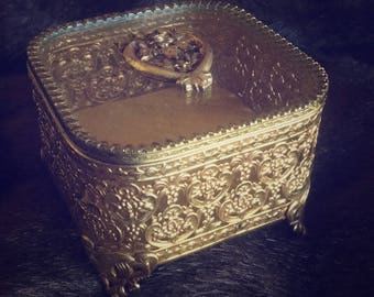 Vintage Filigree Jewelry Casket Box Beveled Glass