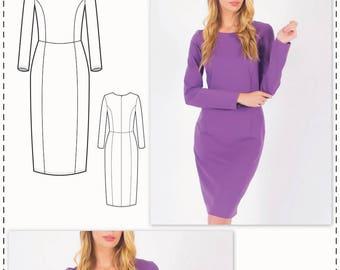 Long Sleeve Dress Pattern - Formal Dress Patterns - Simple Dress Pattern - Sewing Tutorial - Knit Dress Pattern - Dress Sewing Patterns