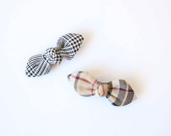 Handmade in Japan, Checkered Hair Clip, Set of 2