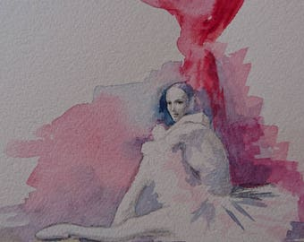 The Look, Ballerina in Red, A4, Contemporary art, pls see more on Facebook, contact littlecl@mail.ru
