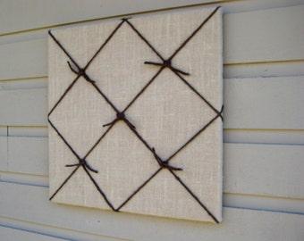 Country Chic Burlap Memo Board, Memory, Bulletin Board, pin or tack board, with 5 nautical knots