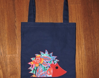 Tropical Red Applique Hedgehog on Navy Tote Bag