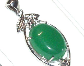 Green Jade Pendant Set in Silver Bezel with Bail 19 MM X 36 MM, Green Jade Pendant