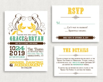 Wedding Invitation and RSVP Card (Country Comfort) - Digital Files or Deposit on Printing (Customizable Floral/Country Design)