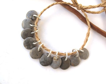 Rock Beads Small Mediterranean Natural Stone River Stone Jewelry Supplies Pairs SMOOTH GREY MIX 11-12 mm