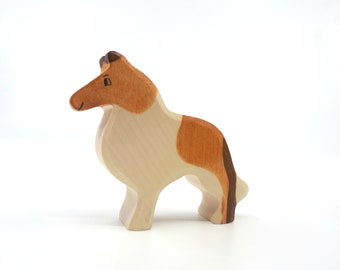 Wooden Dog, Border Collie, Dog figurine, wooden animals, wooden dogs, dog toy, natural toys, baby toys, gift idea, waldorf toys, toddler toy