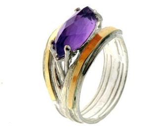 Purple Zirconia Ring, Silver and Gold Ring, Sterling Silver Ring, 9 Karat Gold Ring,  December Birthstone, Fashion Ring, handmade