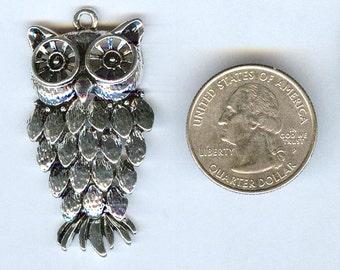"""Bright Silver Cute Owl Pendant 2"""" x1"""""""