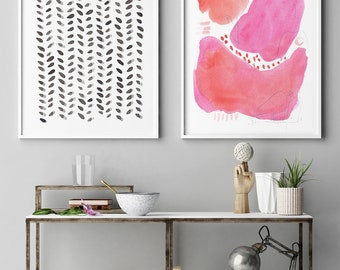 Large Abstract Art, Set of 2 Prints, Pink Painting, Abstract Art Set,Abstract Art, Contemporary Wall Art, Abstract Painting, Modern Wall Art