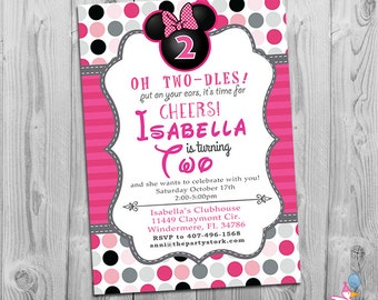 Minnie mouse birthday invitations printable girls party minnie mouse birthday invitations printable girls party invitation minnie mouse 2nd birthday invite second birthday on sale filmwisefo