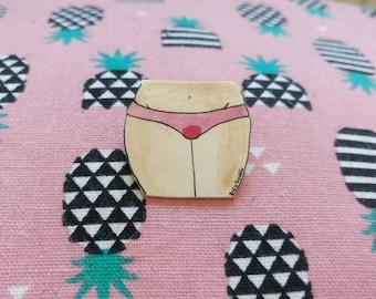 Bloody panties, handmade feminist pin