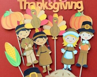Thanksgiving cupcake toppers, 11 Thanksgiving toppers, Thanksgiving dinner toppers, Thanksgiving decor, Thanksgiving cake topper