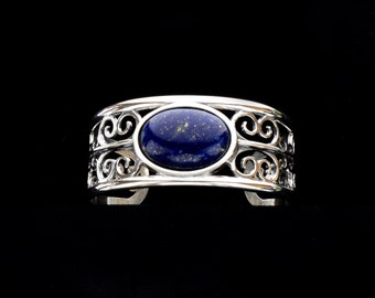Lapis Lazuli Filigree Cuff Bracelet