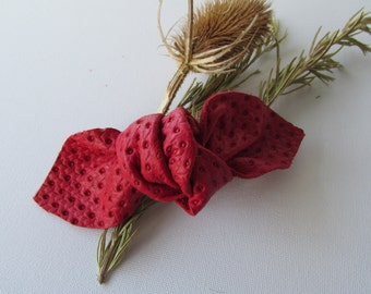 Red bow barrette, Red leather bow hairslide, Preppy red knot bow, Red bow on a French Barrette, Leather knot hairclip, red ponytail holder