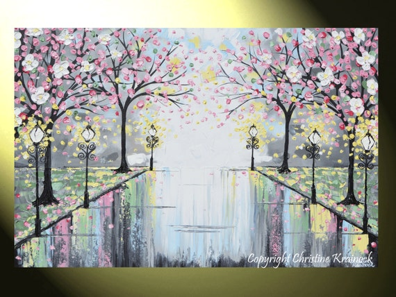 Pink Abstract Canvas Art: ART PRINTS Abstract Painting Pink Blossoming Cherry Trees