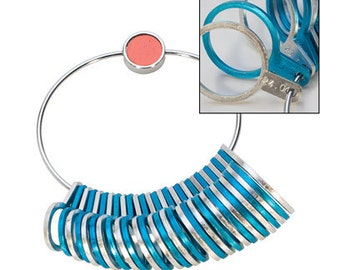 ALUMINUM RING SIZER Silver & Blue for Figuring the Correct Ring Size - Jewelry Tools for Metal Work