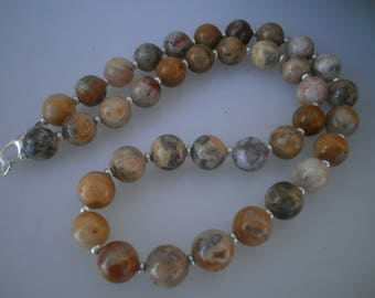 """Crazy lace Agate Necklace """"classic"""" 10 mm #615"""