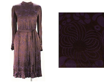 Size 10 Christian Dior Dress - Sumptuous Chocolate & Aubergine Pleated Silk Satin Brocade - 1960s Designer Sheath and Belt - Bust 36 - 48675