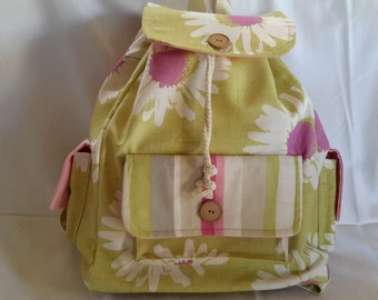 Pretty floral pink and green drawstring backpack rucksack