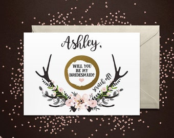 SET OF 4 or more Scratch-Off Will you be my Bridesmaid Cards - Maid of Honor, Matron of Honor, Bridesmaid Ask Card with Metallic Envelope
