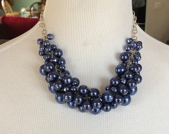 Navy blue chunky necklace, navy blue wedding, bridesmaid jewelry, bridesmaid cluster necklace, statement necklace