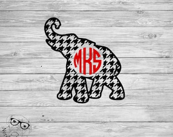 Houndstooth Elephant Decal, Monogram Elephant Decal, Monogram Houndstooth Decal - your choice of size and colors
