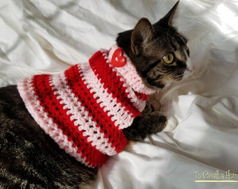 Valentine's Day Cat Sweater-Cat Sweater-Cat Clothes-Cat Shirt