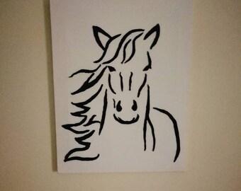 Handmade felt horse canvas