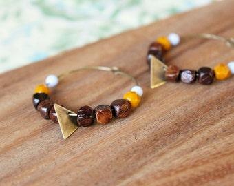wood bead and czech glass hoop earrings - mustard, periwinkle - medium hoop