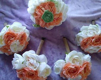 Coral..ivory and mint silk bouquet set