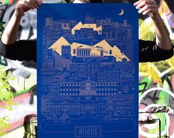 Athens City Silkscreen Poster Print Limited on Indigo Skin Curious Paper