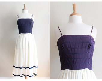 1970s Dress / Vintage Beaded Navy & White Tiered Party Dress