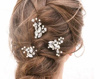 Wedding Hair Pins Rhinestone Hair Jewelry, Bridal Beaded Hair Pins Decorative Wedding Hair Accessories