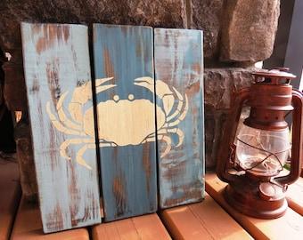 Handpainted Distressed Vintage Crab Beach Sign - Weathered, Nautical, Ocean, Sailing, Sea, Reclaimed Look