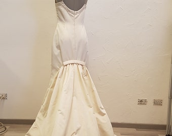 Vintage wedding dress Two pieces with trawling, silk douche ivory size 42