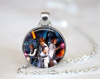 Star Wars 2 Inspired Glass Pendant, Photo Glass Necklace, Glass Keychain