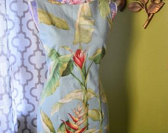 Tropical Palms Printed Sheath Dress/ Plant life & Exotic Floral Print Linen Mini Dress/Vintage  Paradise HoneyMoon Summer Vacation Dress