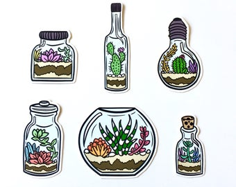 Set of 6 Succulents in bottles sticker pack - cacti - cactus - succulent stickers - house plants